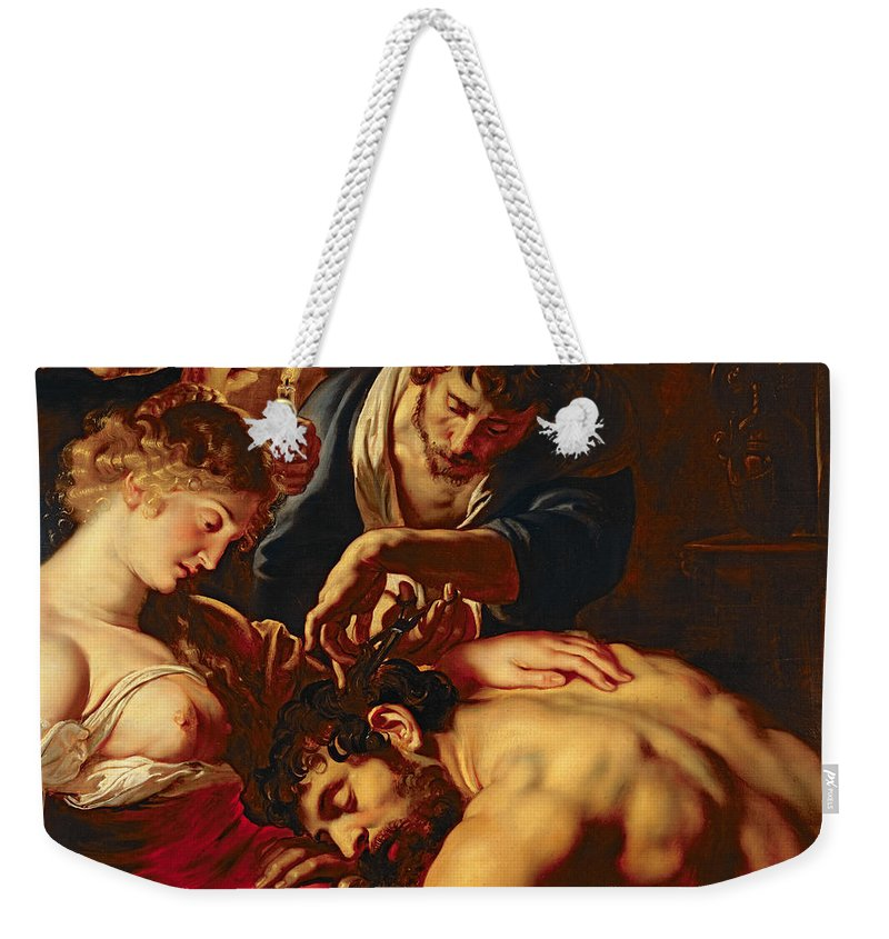Samson Weekender Tote Bag featuring the painting Samson And Delilah by Rubens
