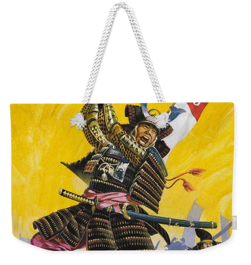 Japan; Japanese; Warrior; Traditional Costume; Elaborate; Fight; Battle; Fighting; Sword; Swords; Swordsman; Ferocious; Samourai; Samourais Weekender Tote Bag featuring the painting Samurai Warriors by English School