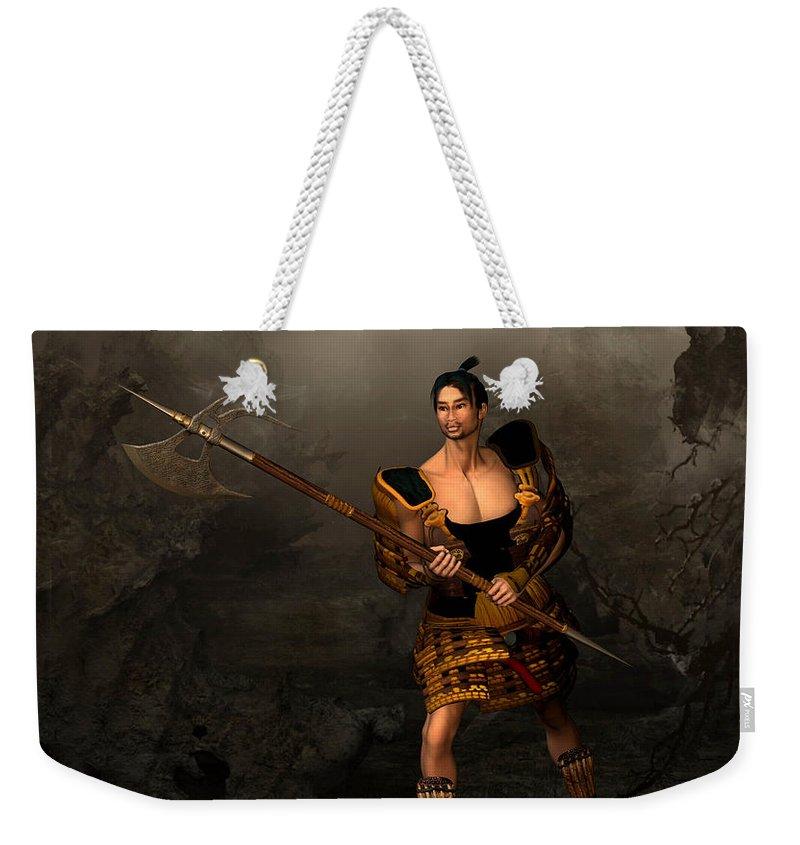 Samural Warrior Weekender Tote Bag featuring the digital art Samural Warrior by John Junek