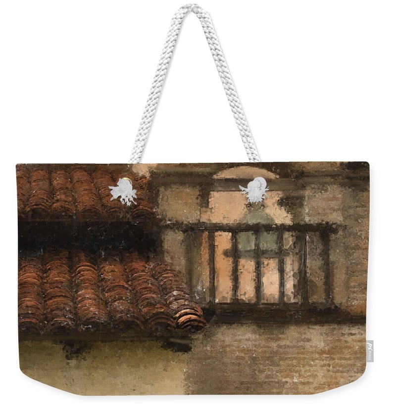Mission Weekender Tote Bag featuring the digital art San Antonio Bell II by Sharon Foster