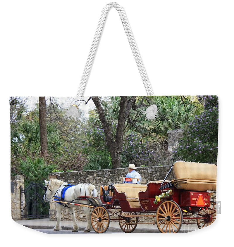 San Antonio Weekender Tote Bag featuring the photograph San Antonio Carriage by Carol Groenen