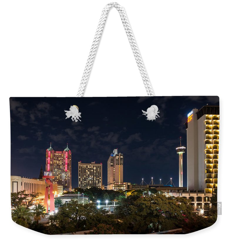 San Antonio Weekender Tote Bag featuring the digital art San Antonio Cityscape At Night by Tod and Cynthia Grubbs