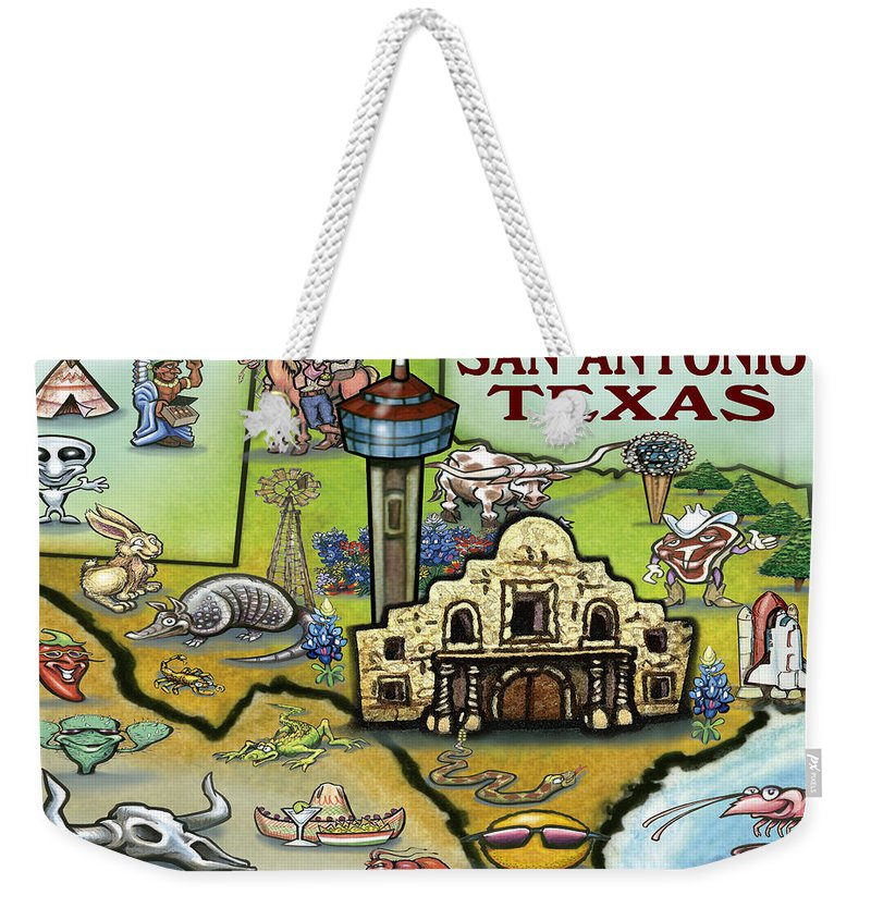 San Antonio Weekender Tote Bag featuring the digital art San Antonio Texas by Kevin Middleton