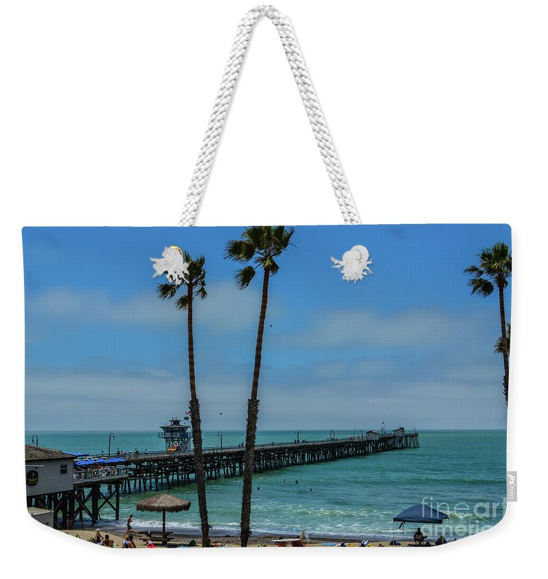 Warf Weekender Tote Bag featuring the photograph San Clemente Peir by Tommy Anderson