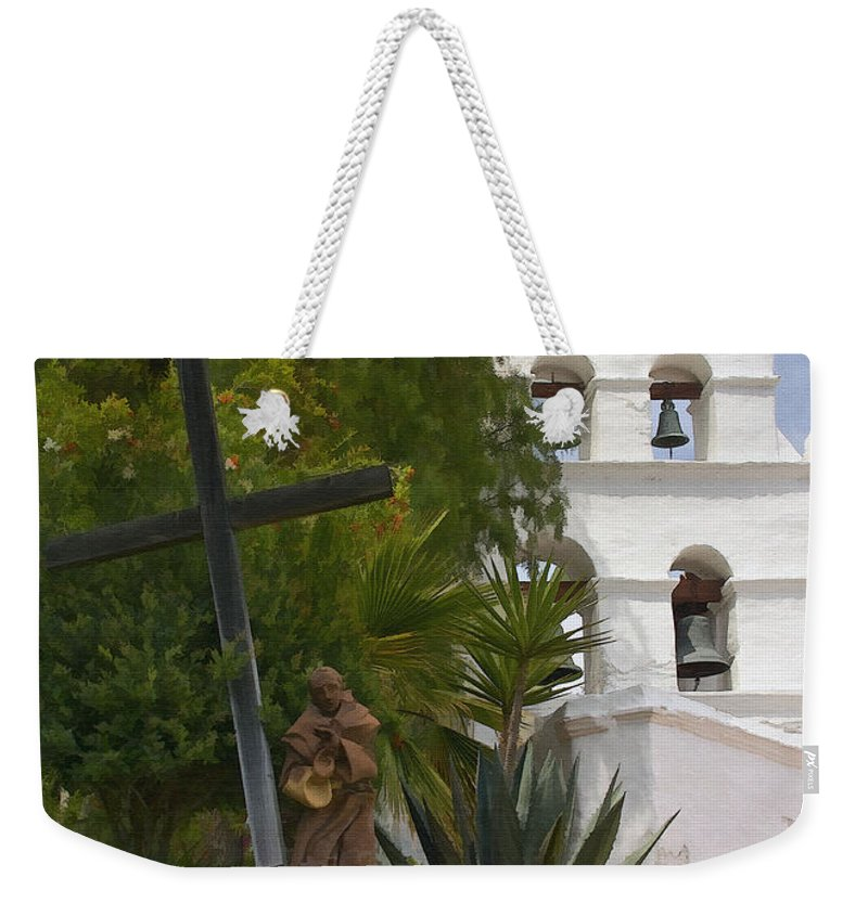 Mission Weekender Tote Bag featuring the digital art San Diego Mission Bells by Sharon Foster