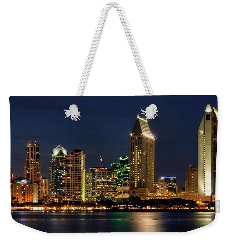 San Diego Weekender Tote Bag featuring the photograph San Diego Night by DJ Florek