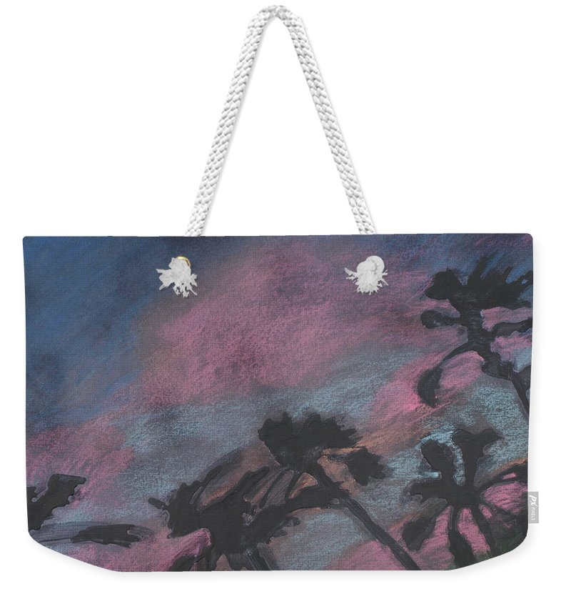 Contemporary Tree Landscapes Weekender Tote Bag featuring the drawing San Diego Palms by Leah Tomaino