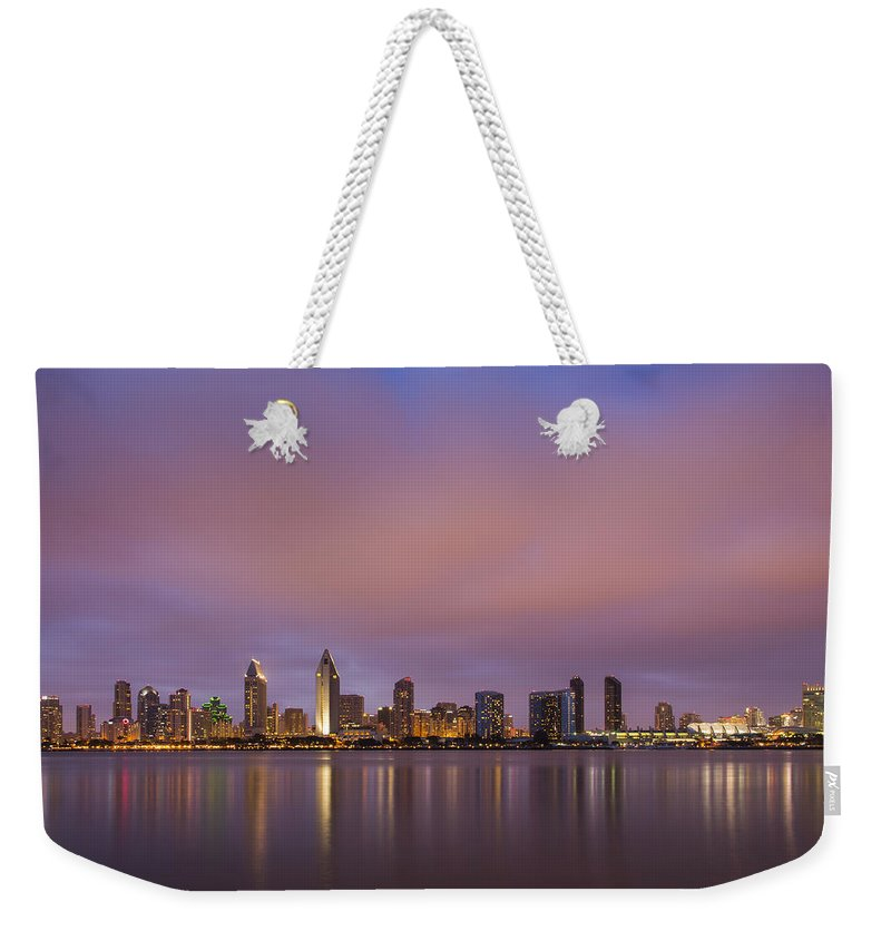 3scape Photos Weekender Tote Bag featuring the photograph San Diego Skyline by Adam Romanowicz