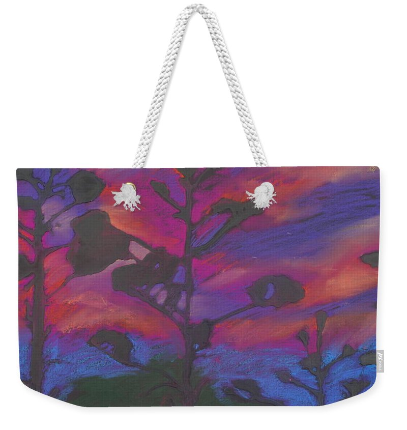 Contemporary Tree Landscape Weekender Tote Bag featuring the mixed media San Diego Sunset by Leah Tomaino