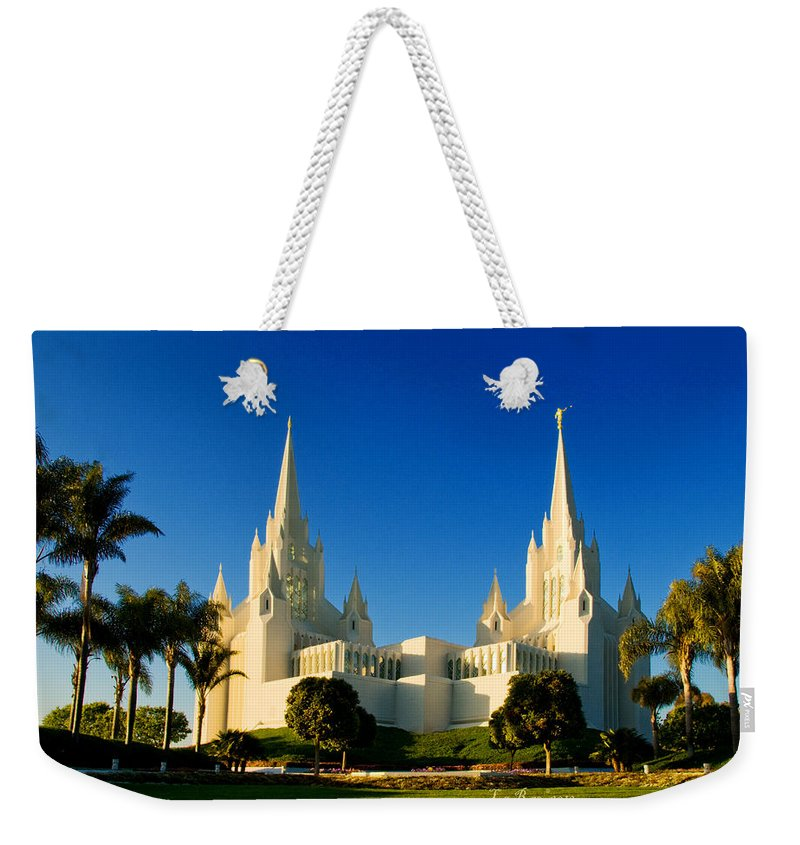Lds Temple Photography Weekender Tote Bag featuring the photograph San Diego Towers by La Rae Roberts
