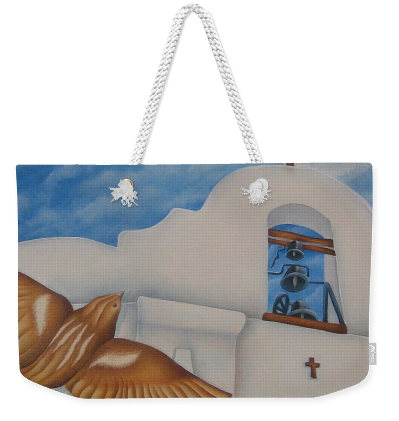Sparrow Weekender Tote Bag featuring the painting San Elizario On A Moonlit Morning by Jeniffer Stapher-Thomas