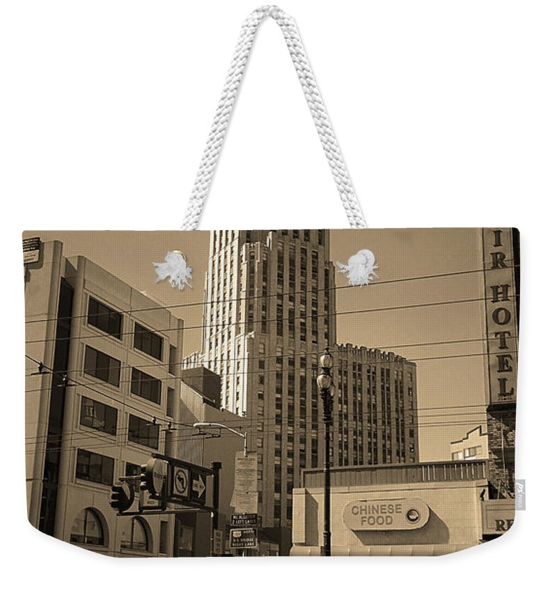 America Weekender Tote Bag featuring the photograph San Francisco Architecture, 2007 Sepia by Frank Romeo