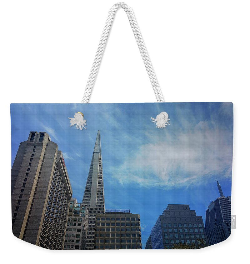 This Photo Was Taken In San Francisco's Chinatown Weekender Tote Bag featuring the photograph San Francisco Cityscape by Laura Drake