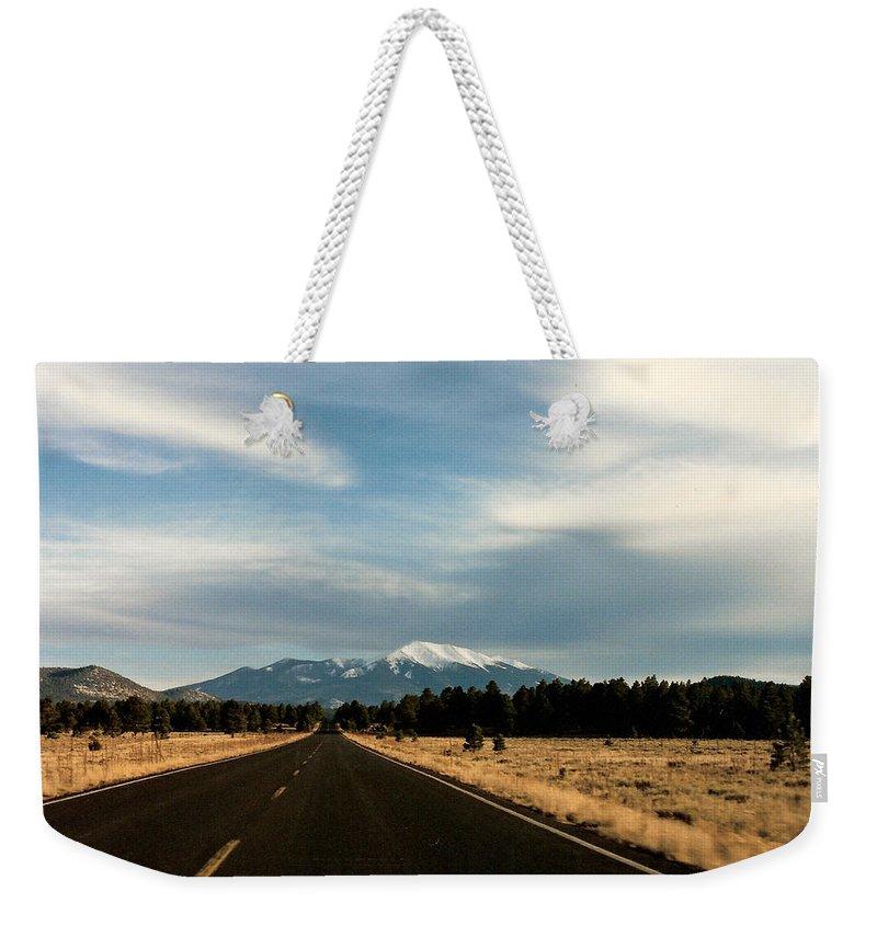 San Francisco Peaks Weekender Tote Bag featuring the photograph San Francisco Peaks by Lauri Novak