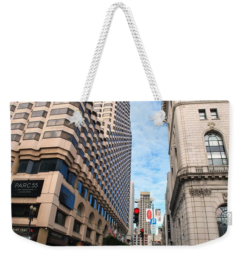 City Weekender Tote Bag featuring the photograph San Francisco Street View - Parc 55 by Matt Harang