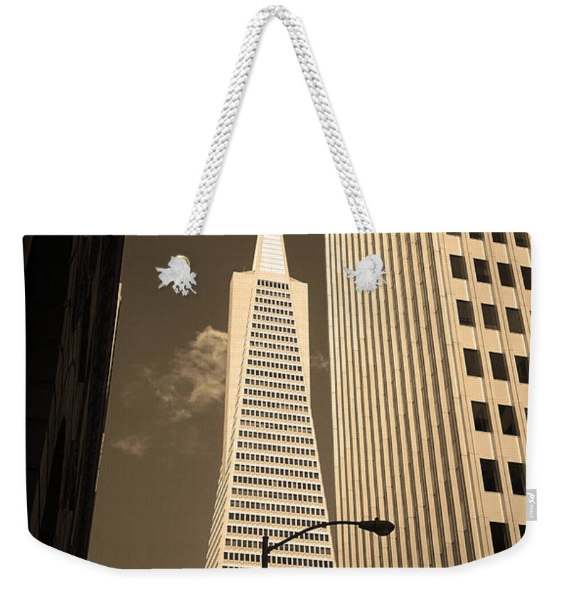 America Weekender Tote Bag featuring the photograph San Francisco - Transamerica Pyramid Sepia by Frank Romeo