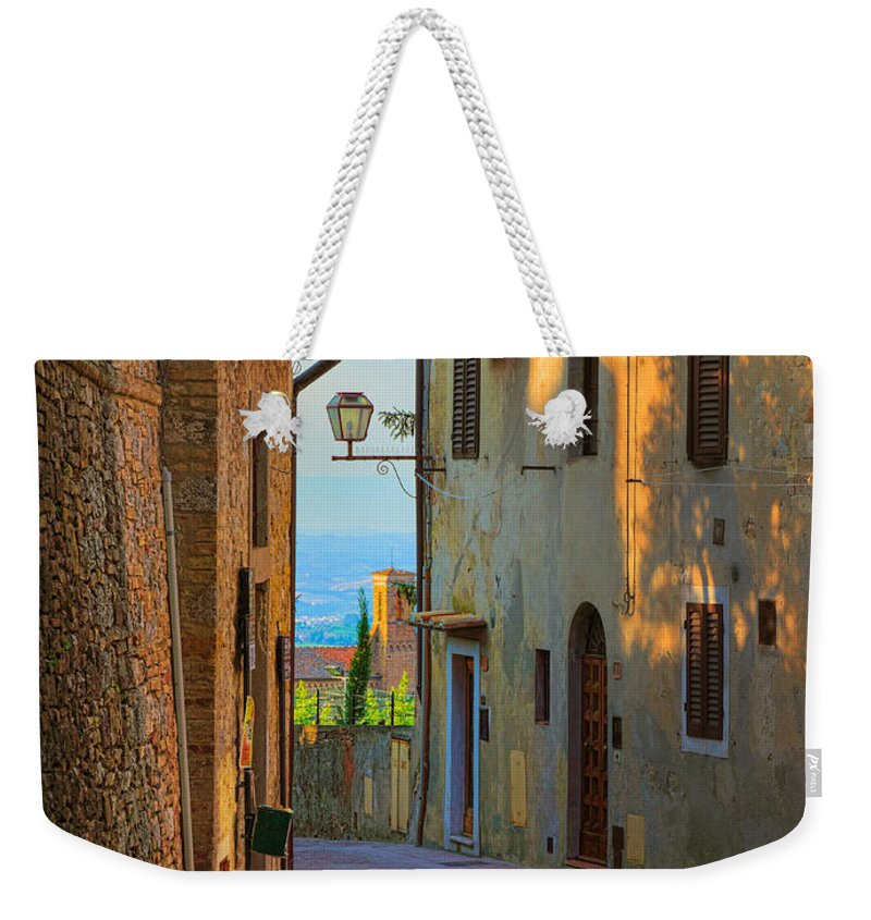 Europe Weekender Tote Bag featuring the photograph San Gimignano Alley by Inge Johnsson