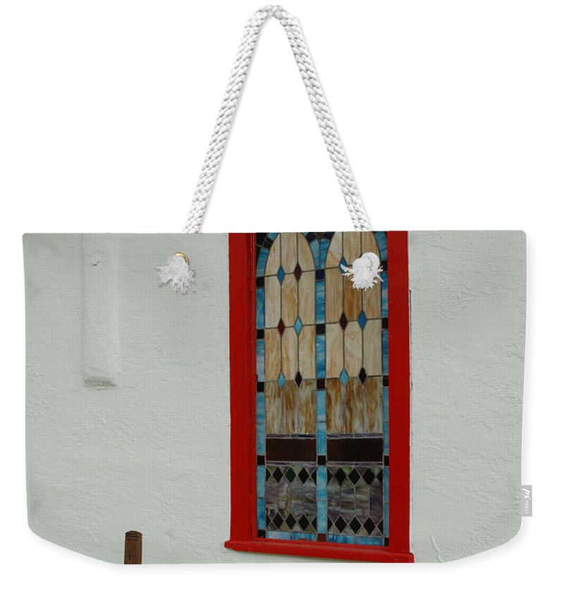 Church Weekender Tote Bag featuring the photograph San Iglesia Church Window by Jerry McElroy