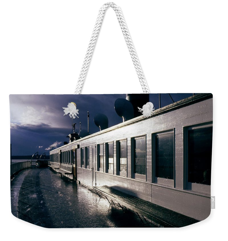 Scenic Weekender Tote Bag featuring the photograph San Juan Islands Ferry by Lee Santa