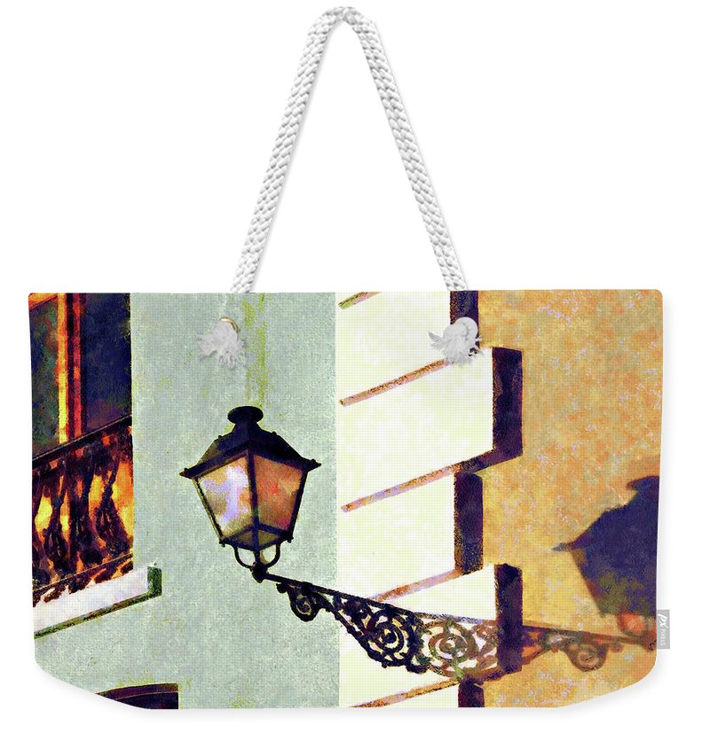 San Juan Weekender Tote Bag featuring the photograph San Juan Street Lamp by Susan Savad
