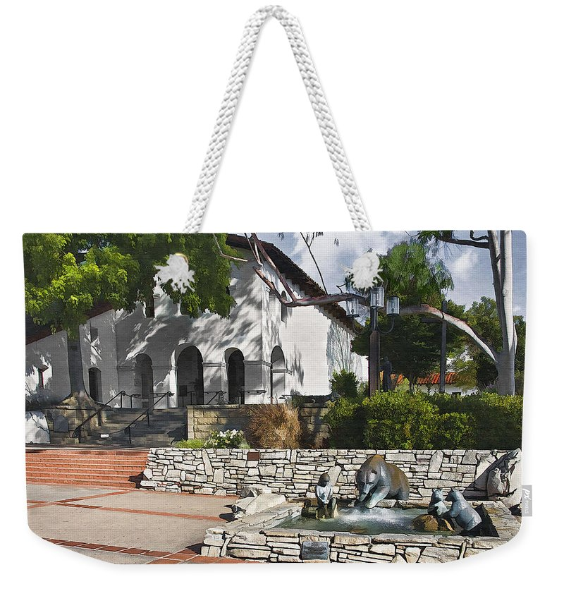 San Luis Mission Weekender Tote Bag featuring the digital art San Luis Mission Fountain by Sharon Foster