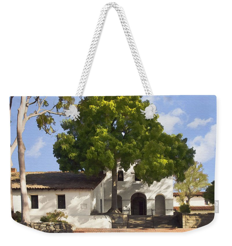 San Luis Obispo De Tolosa Mission Weekender Tote Bag featuring the digital art San Luis Mission by Sharon Foster