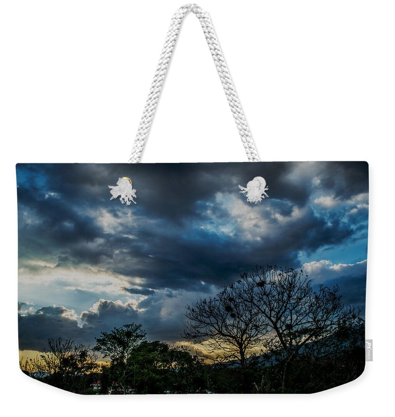 Sunset Weekender Tote Bag featuring the photograph San Salvador Sunset 5 by Totto Ponce