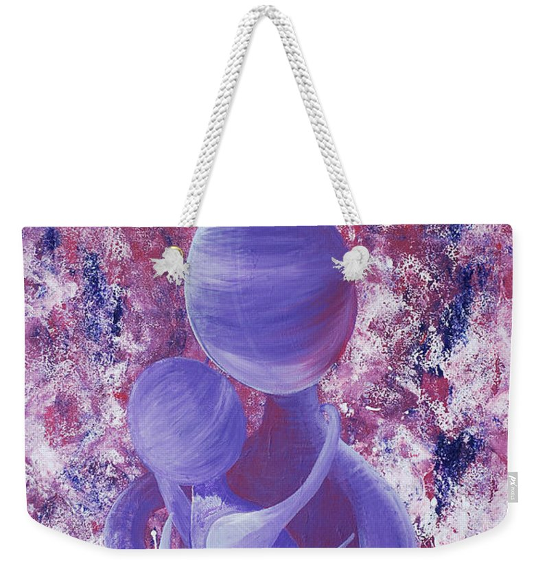 Sanctoral Weekender Tote Bag featuring the painting Sanctoral Rainbow Soul Collection by Catt Kyriacou