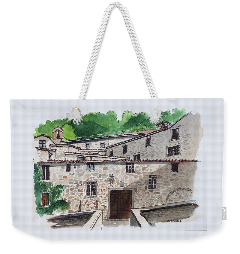 Tuscany Weekender Tote Bag featuring the painting Sanctuary Of St. Francis by John Crowther