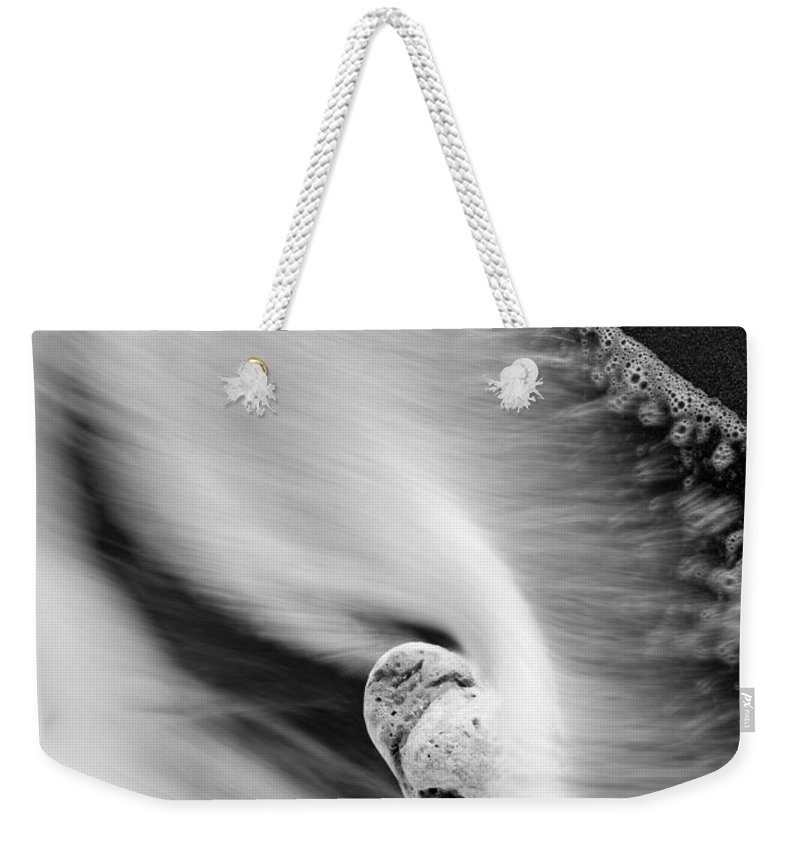 Rock Weekender Tote Bag featuring the photograph Sand And Sea by Mike Dawson