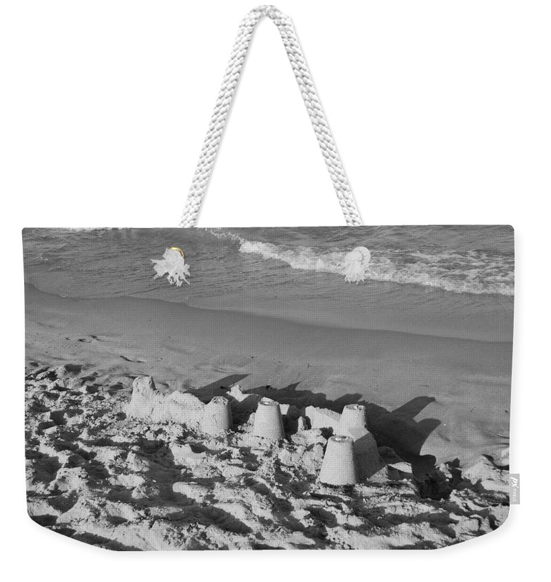 Sea Scape Weekender Tote Bag featuring the photograph Sand Castles By The Shore by Rob Hans