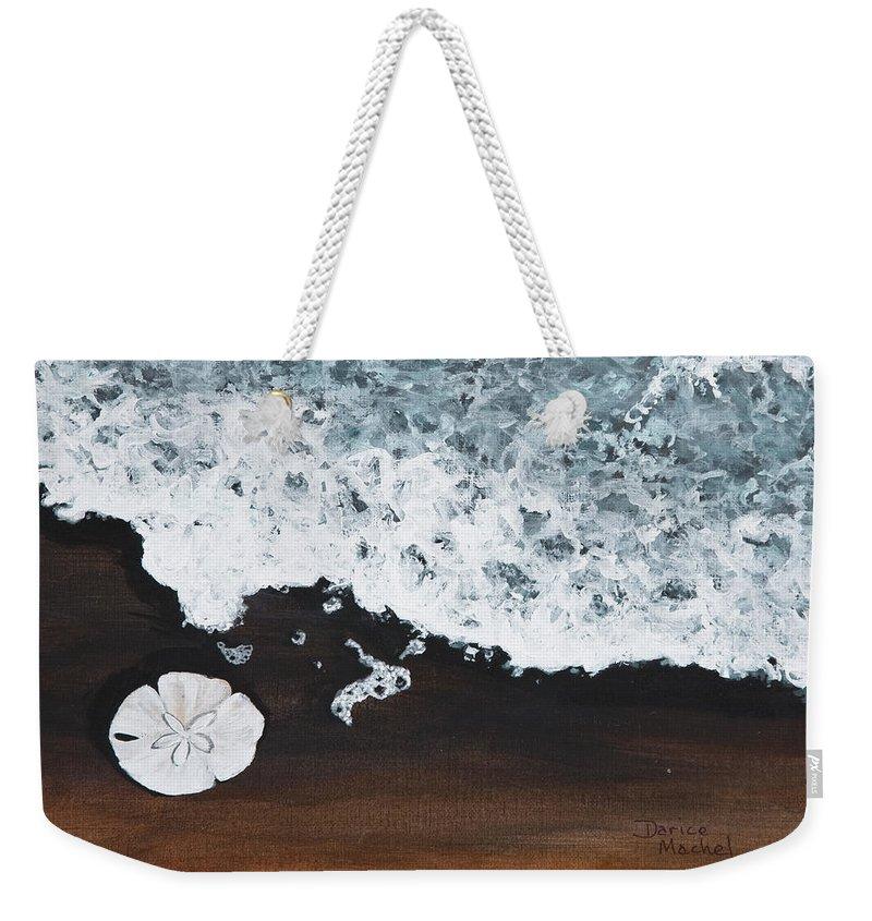 Darice Machel Mcguire Weekender Tote Bag featuring the painting Sand Dollar by Darice Machel McGuire