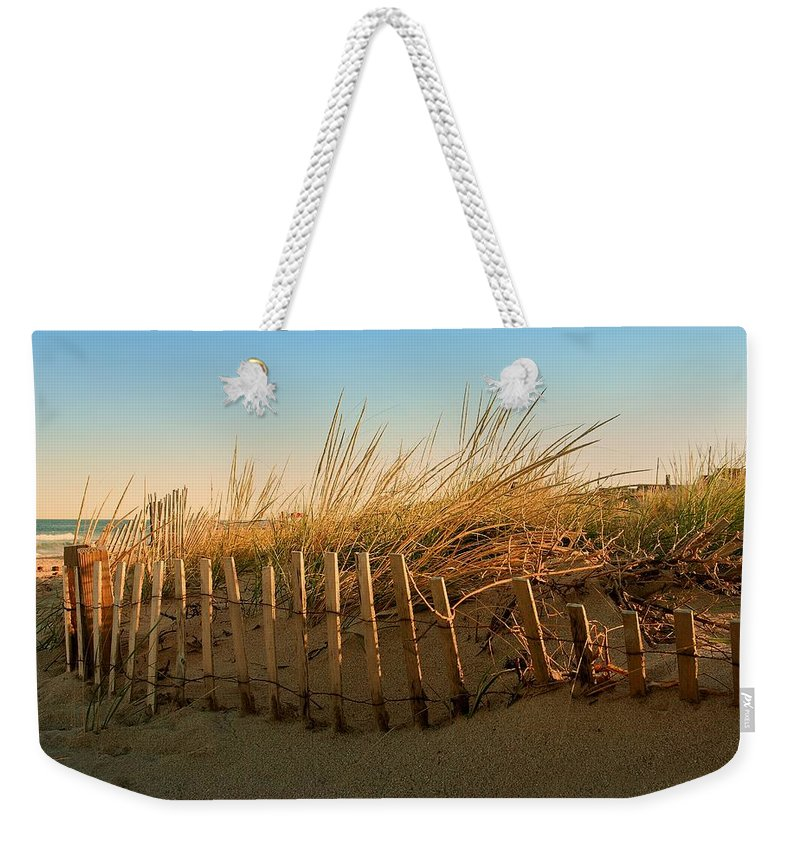 Jersey Shore Weekender Tote Bag featuring the photograph Sand Dune In Late September - Jersey Shore by Angie Tirado
