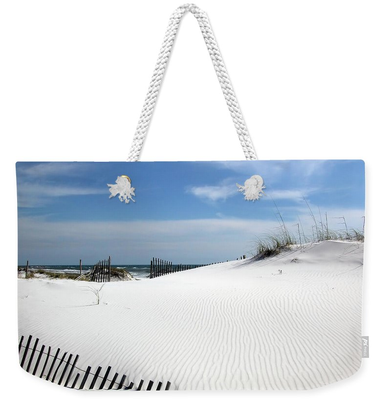 White Weekender Tote Bag featuring the photograph Sand Dunes Dream by Marie Hicks