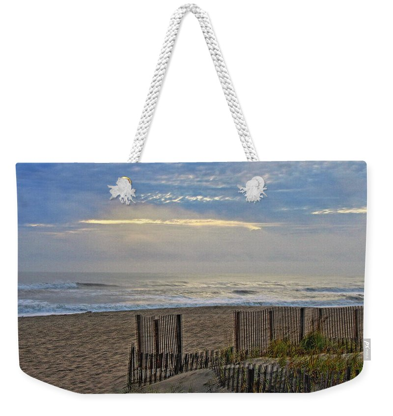 Beach Weekender Tote Bag featuring the photograph Sand Fence And Beach by Rand Wall