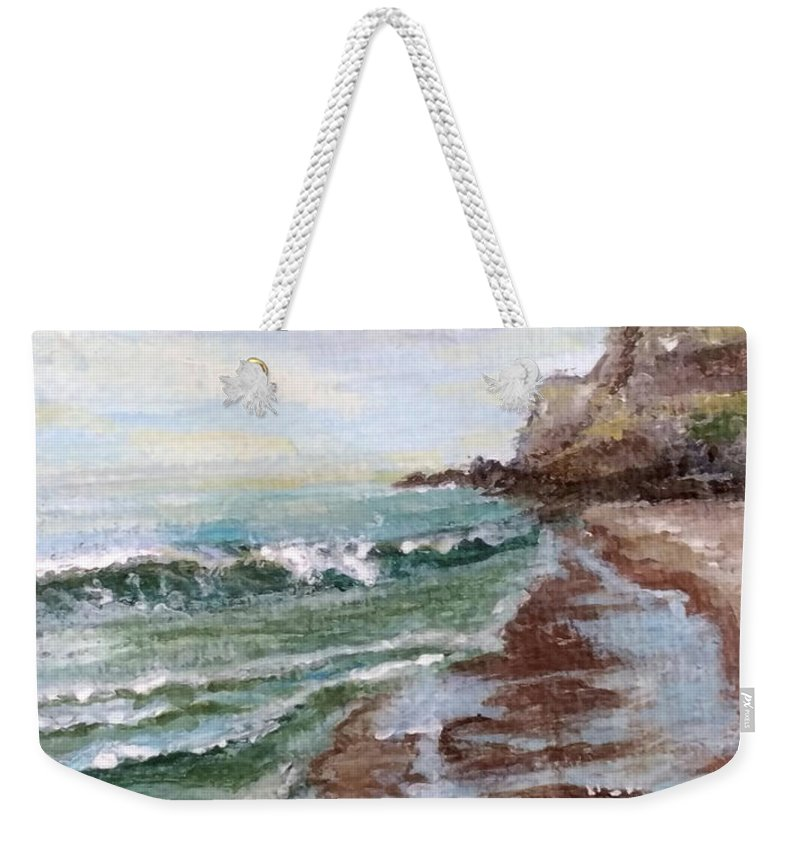 Beach Weekender Tote Bag featuring the painting Reflecting Sands by Laura Wilson