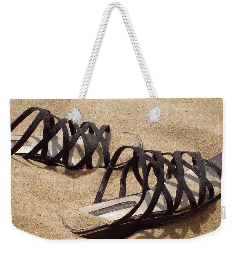 Shoes Weekender Tote Bag featuring the photograph Sand Shoes I by Deborah Crew-Johnson