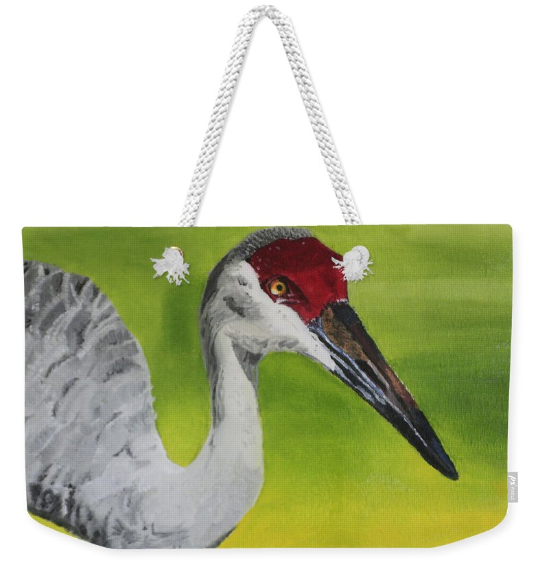 Bird Weekender Tote Bag featuring the painting Sandhill Crane by D Turner