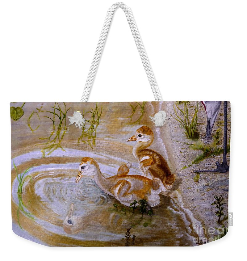 Chicks Weekender Tote Bag featuring the painting Sandhill Cranes Chicks First Bath by Zina Stromberg