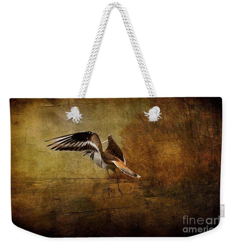 Sandpiper Weekender Tote Bag featuring the photograph Sandpiper Piping by Lois Bryan