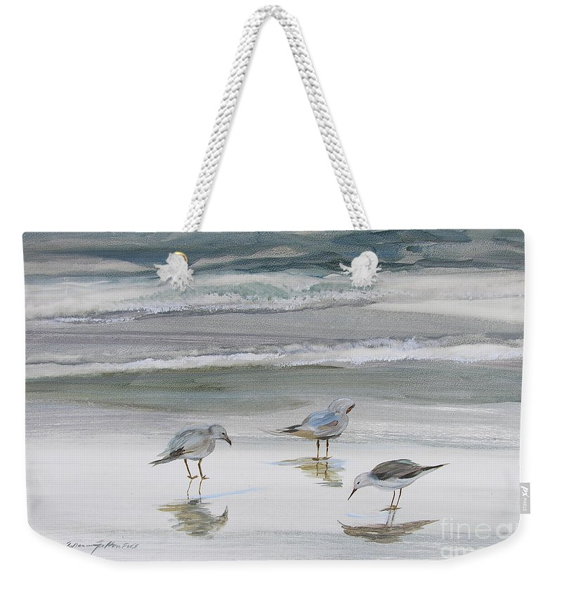 Art Weekender Tote Bag featuring the painting Sandpipers by Julianne Felton