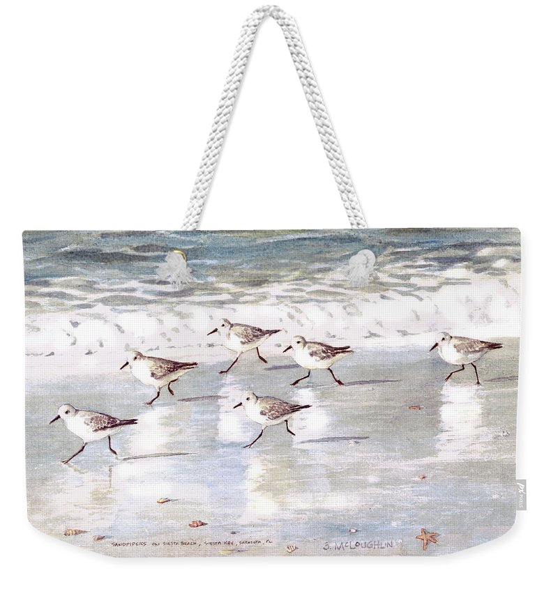 Sandpipers Weekender Tote Bag featuring the painting Sandpipers On Siesta Key by Shawn McLoughlin