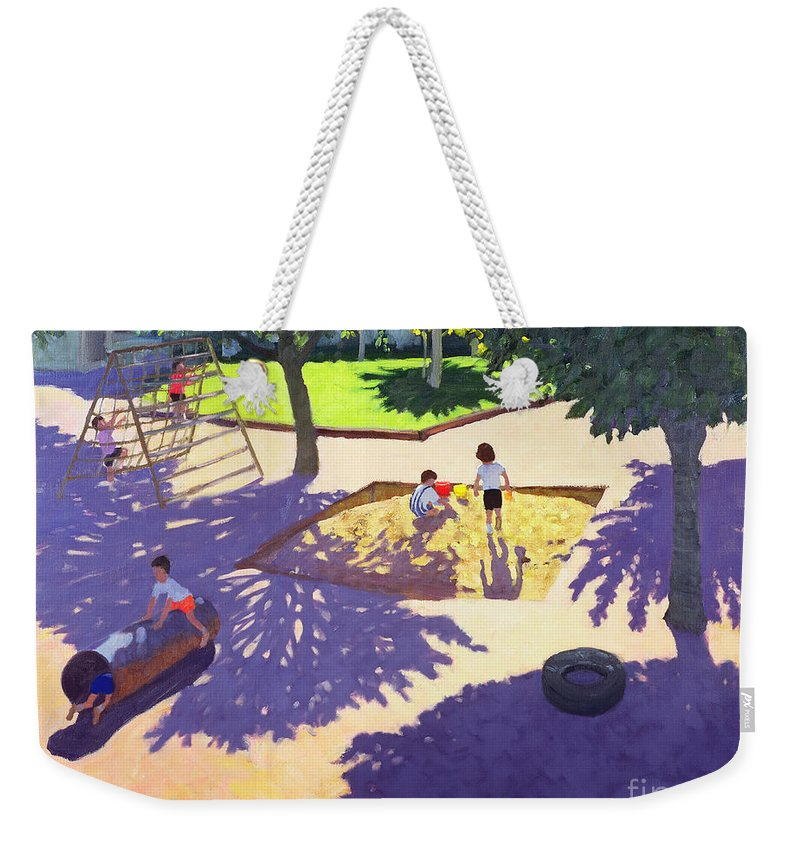 Children Weekender Tote Bag featuring the painting Sandpit by Andrew Macara