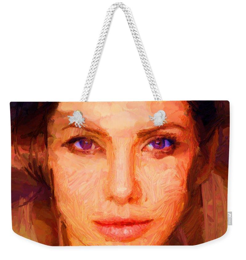Sandra Bullock Weekender Tote Bag featuring the digital art Sandra Jolie by Caito Junqueira