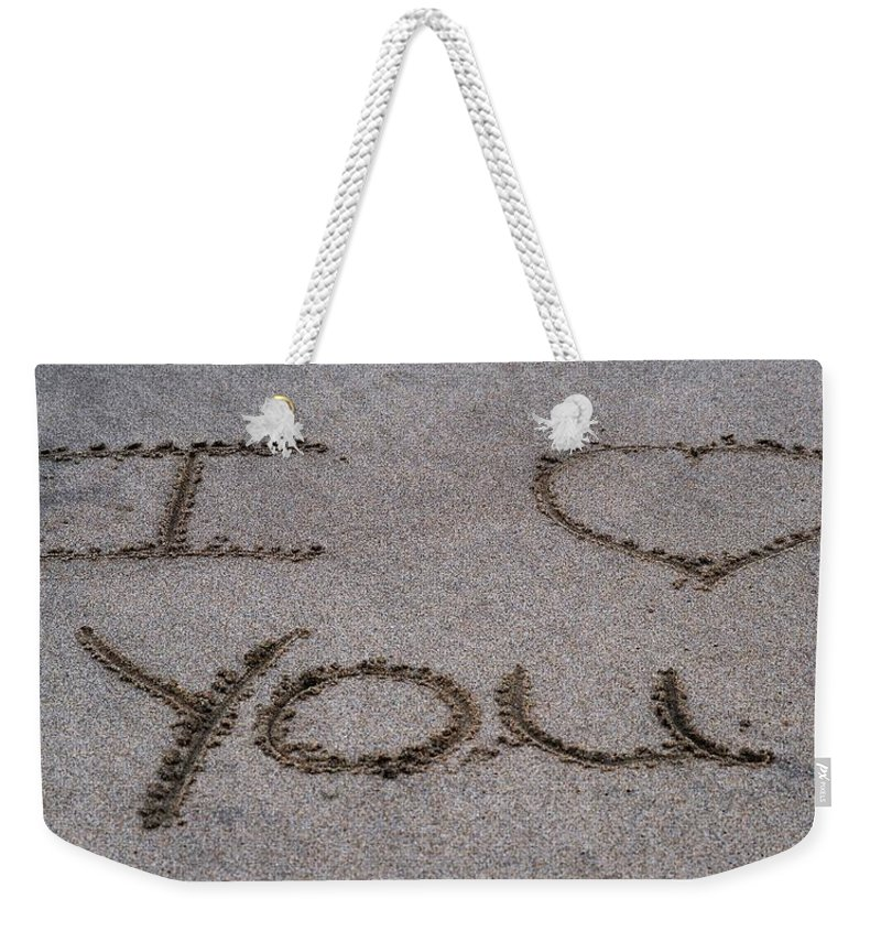 Sand Weekender Tote Bag featuring the photograph Sandscript - I Love You by Michael Bergman