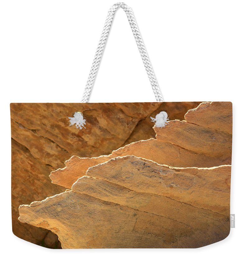 Nevada Weekender Tote Bag featuring the photograph Sandstone Fins by Bob Christopher