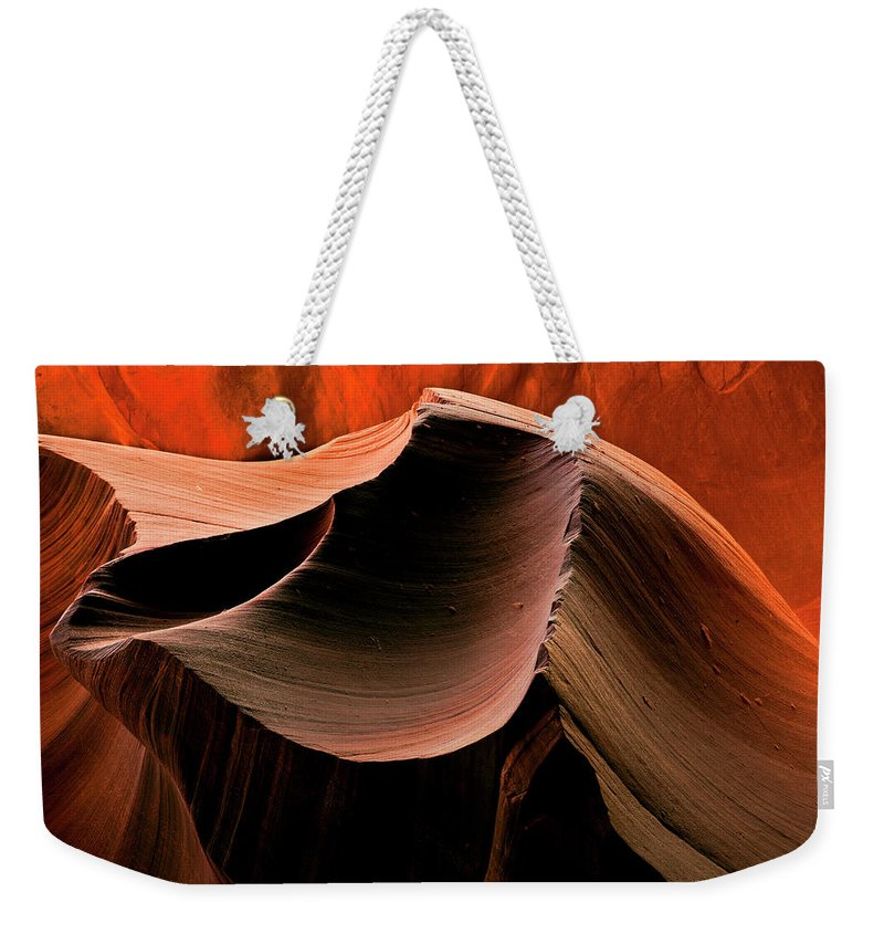 Antelope Canyon Weekender Tote Bag featuring the photograph Sandstone Melody by Mike Dawson