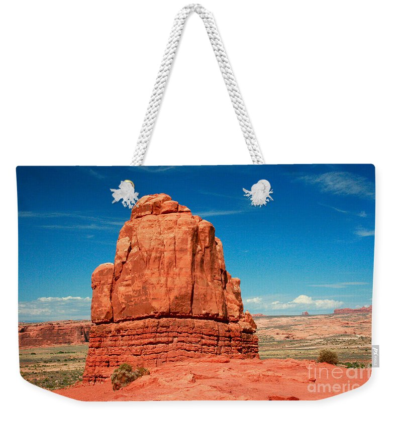 Arches National Park Weekender Tote Bag featuring the photograph Sandstone Monolith, Courthouse Towers, Arches National Park by Corey Ford