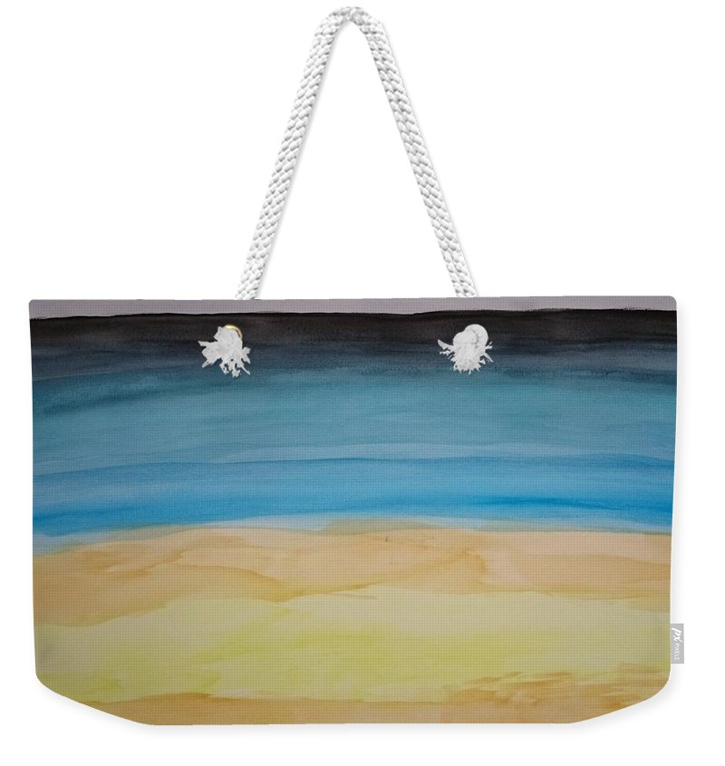 Cool Art Weekender Tote Bag featuring the painting Sandy Beach And Cloudy Sky by Andrea Klyscz