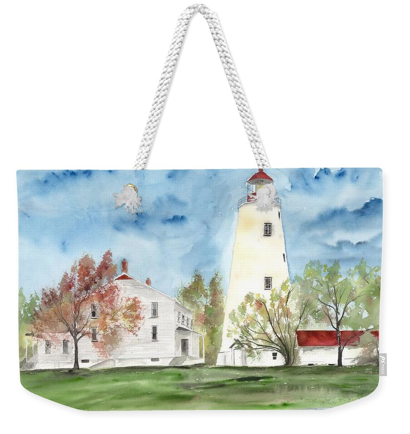 Watercolor Weekender Tote Bag featuring the painting Sandy Hook Lighthouse by Derek Mccrea